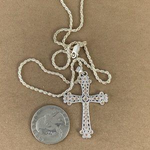 Gem Emporium Jewelry - Champagne Sapphire and CZ 925 Silver Cross